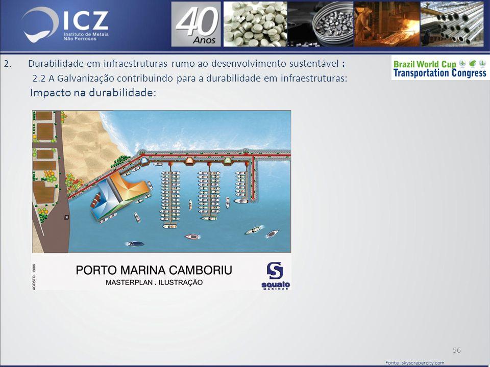 2.Durabilidade em infraestruturas rumo ao desenvolvimento sustentável : 2.2 A Galvanização contribuindo para a durabilidade em infraestruturas: Impacto na durabilidade: 56 Fonte: skyscrapercity.com