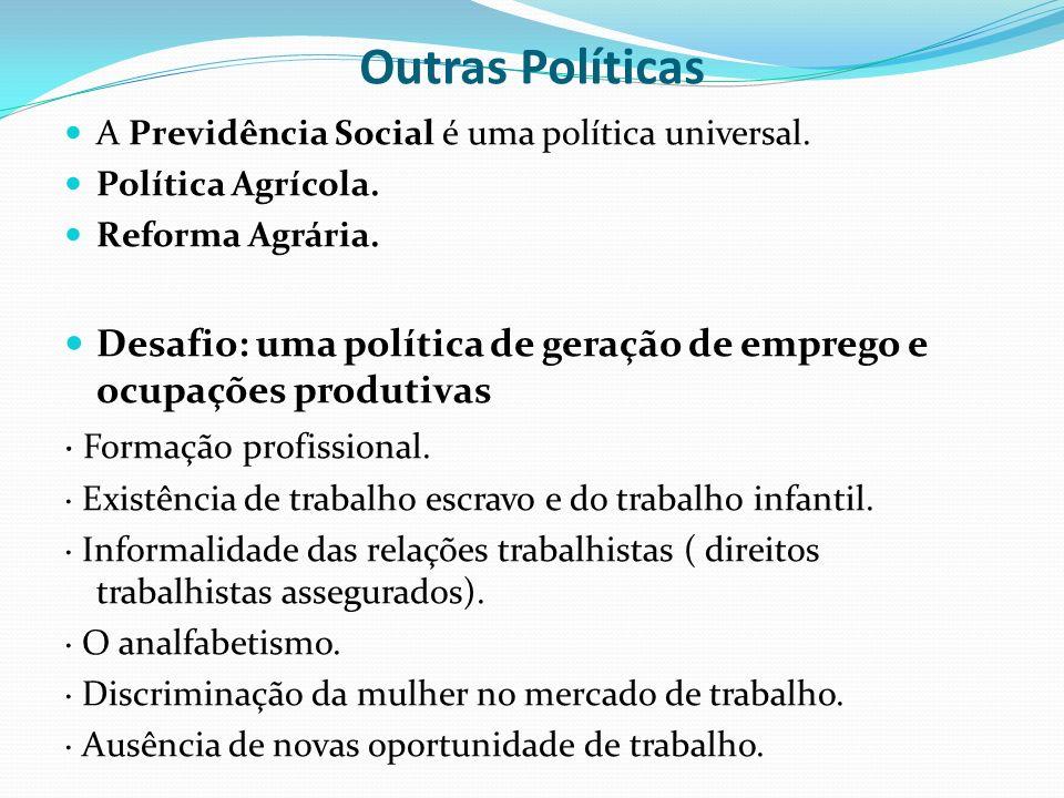 Outras Políticas A Previdência Social é uma política universal. Política Agrícola. Reforma Agrária. Desafio: uma política de geração de emprego e ocup