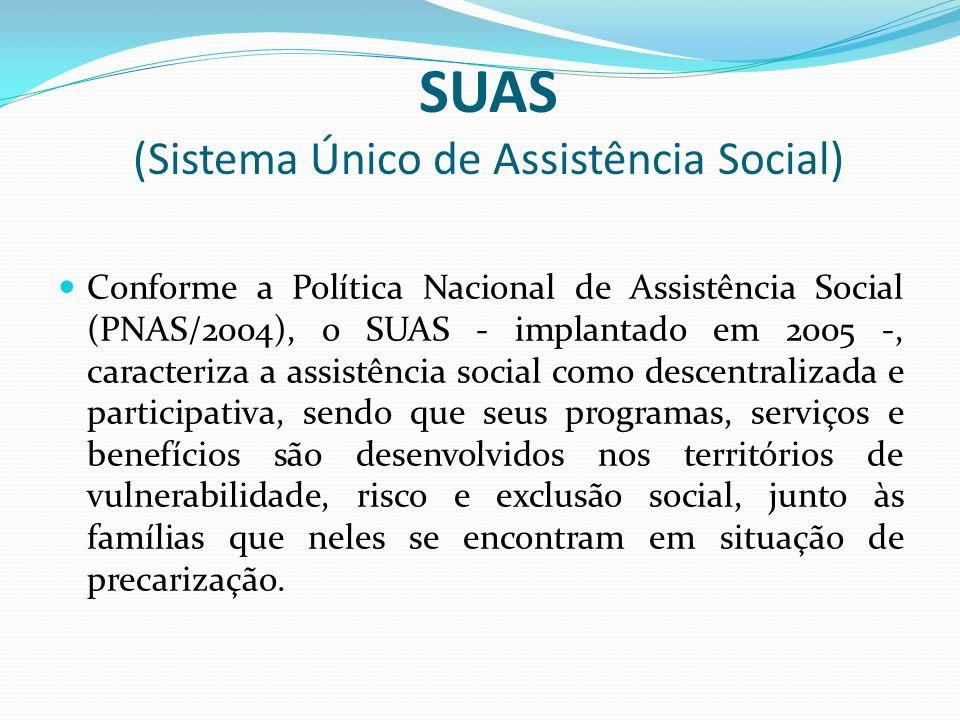 SUAS (Sistema Único de Assistência Social) Conforme a Política Nacional de Assistência Social (PNAS/2004), o SUAS - implantado em 2005 -, caracteriza