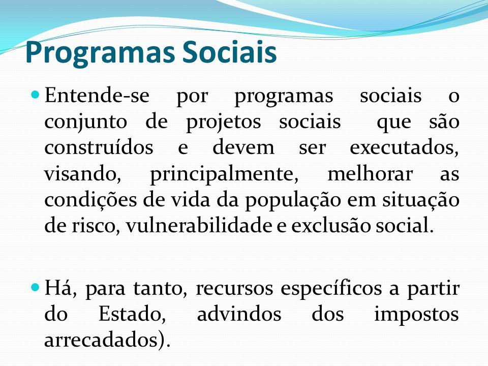 Programas Sociais Entende-se por programas sociais o conjunto de projetos sociais que são construídos e devem ser executados, visando, principalmente, melhorar as condições de vida da população em situação de risco, vulnerabilidade e exclusão social.