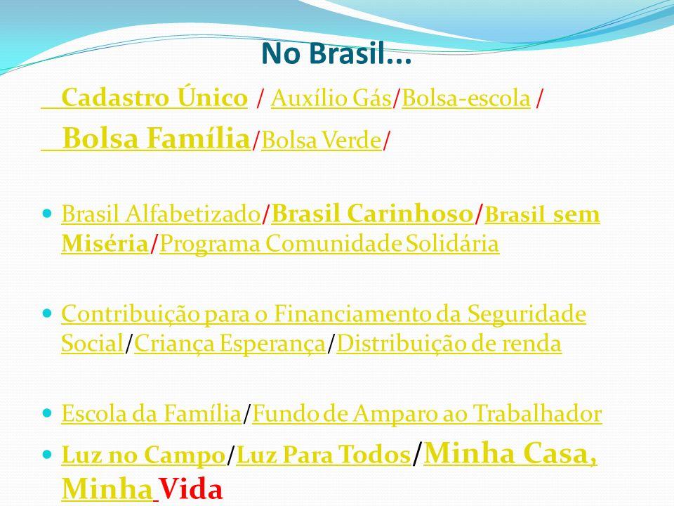 No Brasil... Cadastro ÚnicoCadastro Único / Auxílio Gás/Bolsa-escola /Auxílio GásBolsa-escola Bolsa Família Bolsa Família /Bolsa Verde/Bolsa Verde Bra