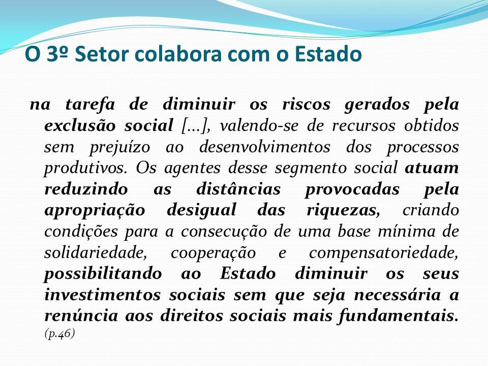 O 3º Setor colabora com o Estado na tarefa de diminuir os riscos gerados pela exclusão social [...], valendo-se de recursos obtidos sem prejuízo ao de