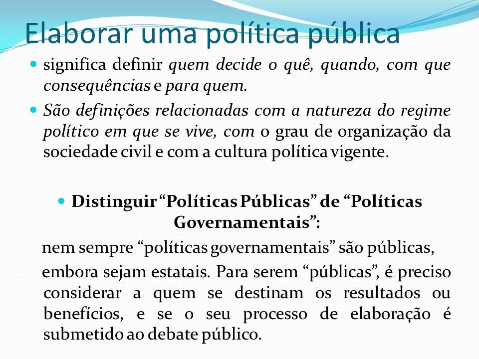 Elaborar uma política pública significa definir quem decide o quê, quando, com que consequências e para quem. São definições relacionadas com a nature