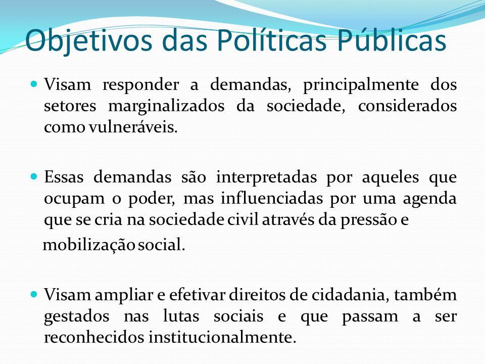 Objetivos das Políticas Públicas Visam responder a demandas, principalmente dos setores marginalizados da sociedade, considerados como vulneráveis.