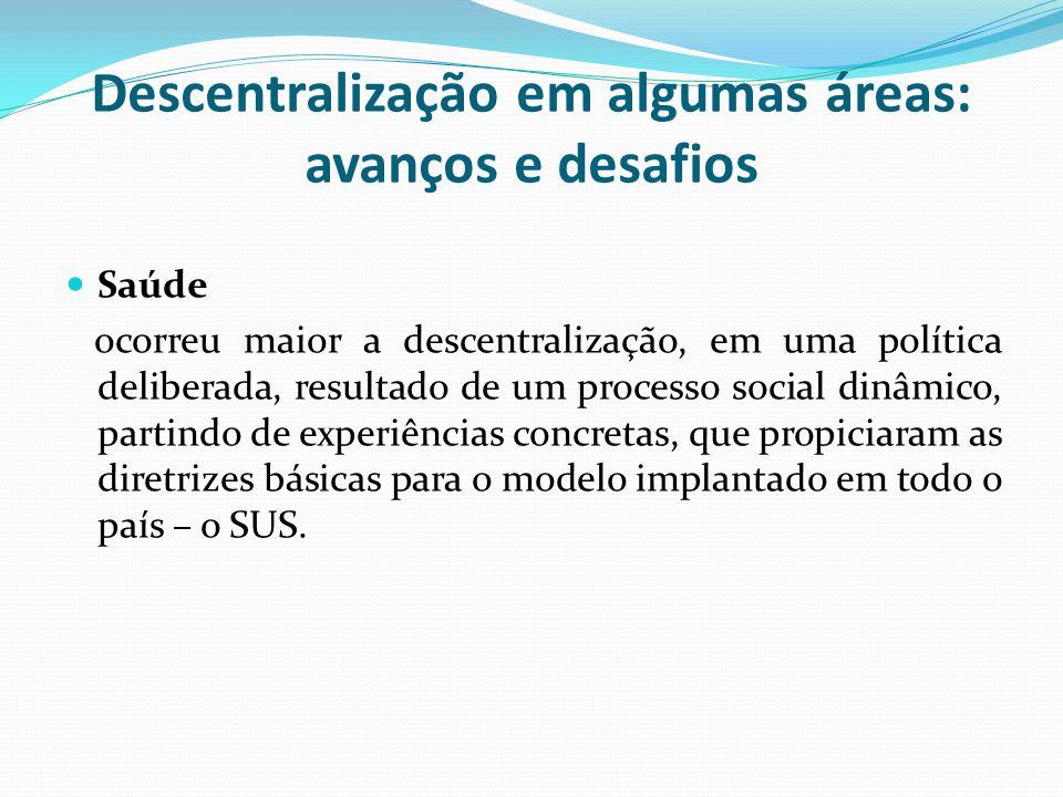 Descentralização em algumas áreas: avanços e desafios Saúde ocorreu maior a descentralização, em uma política deliberada, resultado de um processo social dinâmico, partindo de experiências concretas, que propiciaram as diretrizes básicas para o modelo implantado em todo o país – o SUS.