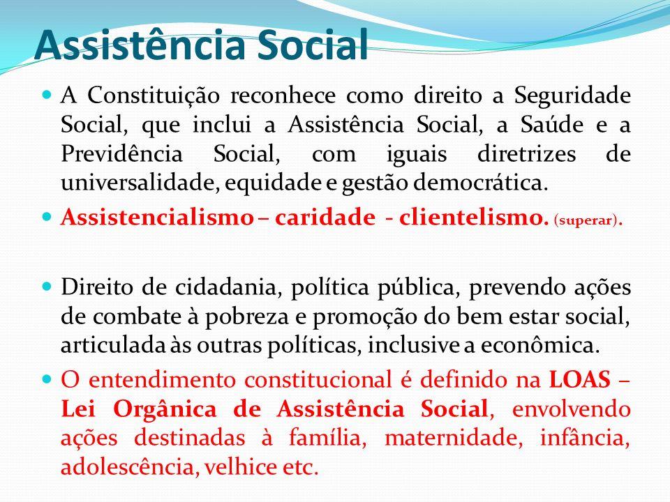 Assistência Social A Constituição reconhece como direito a Seguridade Social, que inclui a Assistência Social, a Saúde e a Previdência Social, com iguais diretrizes de universalidade, equidade e gestão democrática.