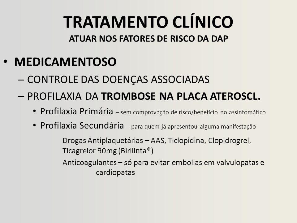 TRATAMENTO CLÍNICO ATUAR NOS FATORES DE RISCO DA DAP MEDICAMENTOSO – CONTROLE DAS DOENÇAS ASSOCIADAS – PROFILAXIA DA TROMBOSE NA PLACA ATEROSCL. Profi