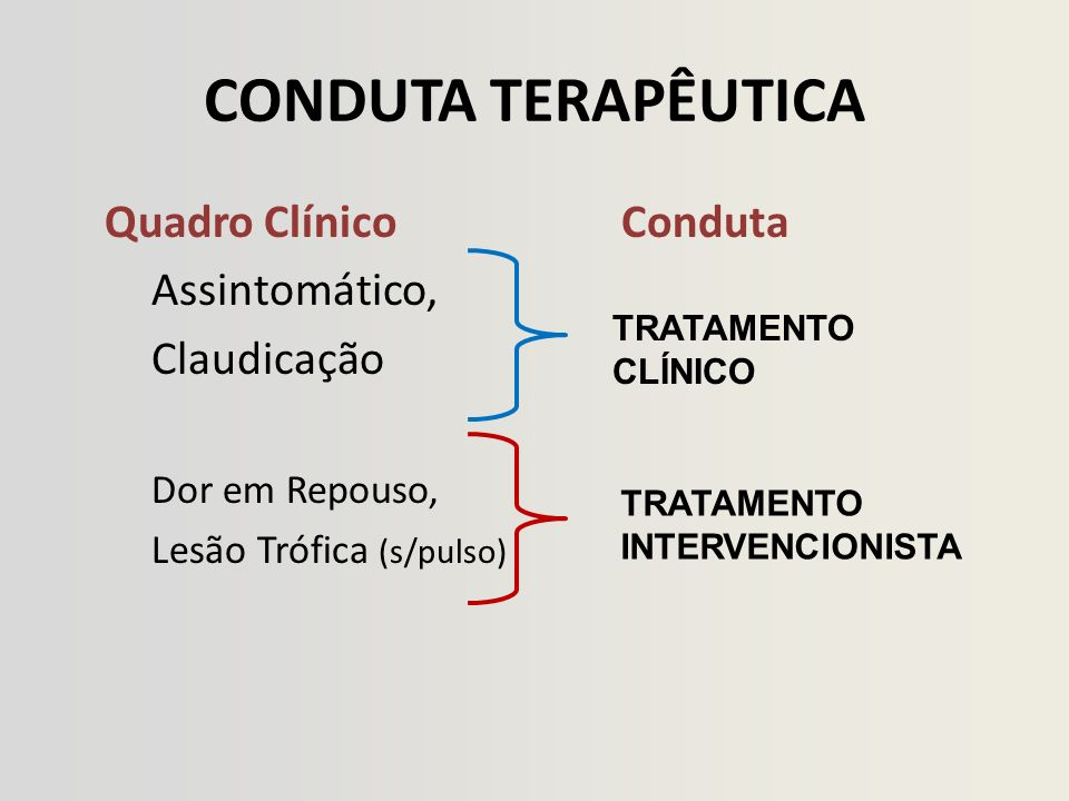 CONDUTA TERAPÊUTICA Quadro Clínico Conduta Assintomático, Claudicação Dor em Repouso, Lesão Trófica (s/pulso) TRATAMENTO CLÍNICO TRATAMENTO INTERVENCIONISTA