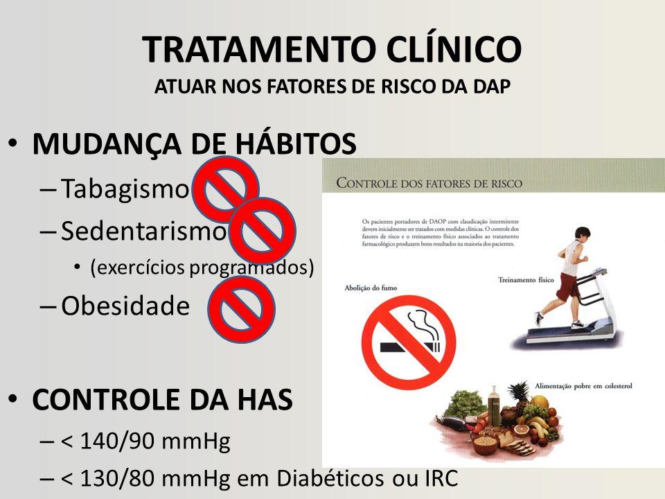 TRATAMENTO CLÍNICO ATUAR NOS FATORES DE RISCO DA DAP MUDANÇA DE HÁBITOS – Tabagismo – Sedentarismo (exercícios programados) – Obesidade CONTROLE DA HA