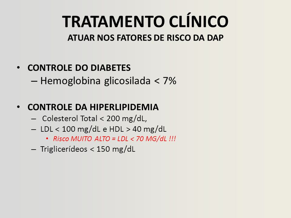 TRATAMENTO CLÍNICO ATUAR NOS FATORES DE RISCO DA DAP CONTROLE DO DIABETES – Hemoglobina glicosilada < 7% CONTROLE DA HIPERLIPIDEMIA – Colesterol Total