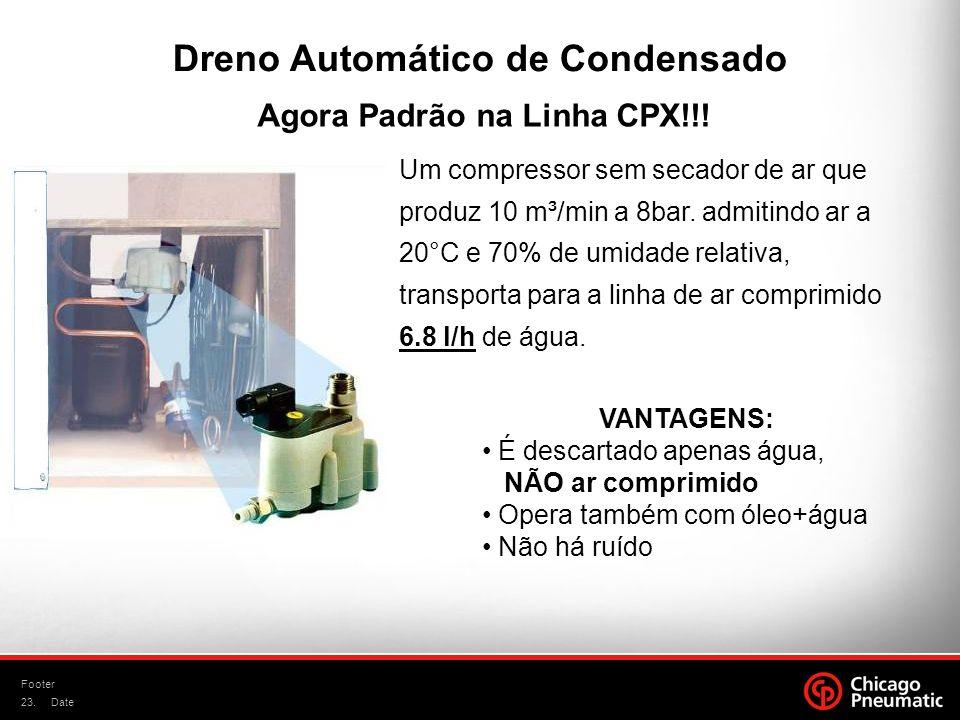 23. Footer Date Agora Padrão na Linha CPX!!! Dreno Automático de Condensado Um compressor sem secador de ar que produz 10 m³/min a 8bar. admitindo ar