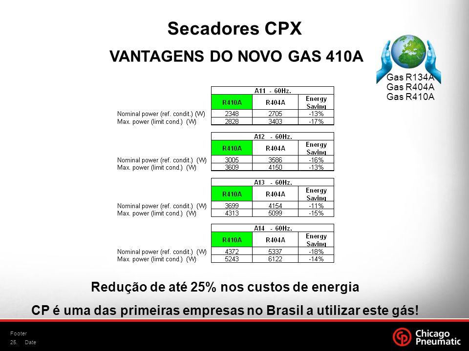 25. Footer Date VANTAGENS DO NOVO GAS 410A Secadores CPX Gas R134A Gas R404A Gas R410A Redução de até 25% nos custos de energia CP é uma das primeiras