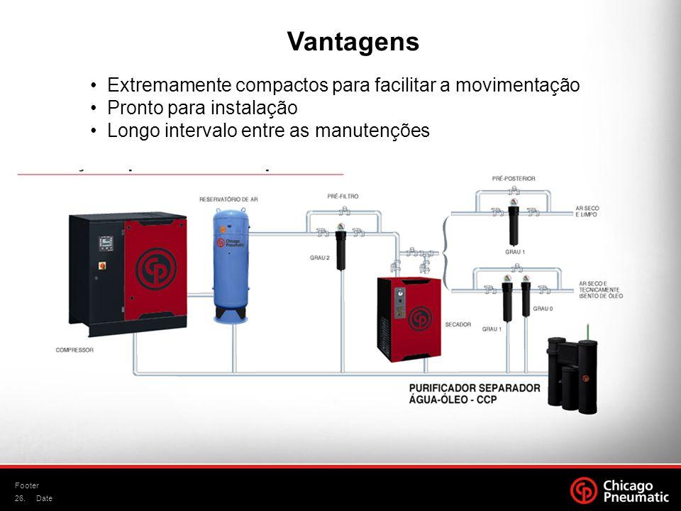 26. Footer Date Vantagens Extremamente compactos para facilitar a movimentação Pronto para instalação Longo intervalo entre as manutenções