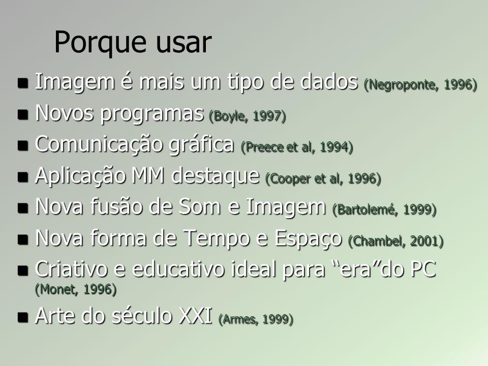 Porque usar Imagem é mais um tipo de dados (Negroponte, 1996) Imagem é mais um tipo de dados (Negroponte, 1996) Novos programas (Boyle, 1997) Novos programas (Boyle, 1997) Comunicação gráfica (Preece et al, 1994) Comunicação gráfica (Preece et al, 1994) Aplicação MM destaque (Cooper et al, 1996) Aplicação MM destaque (Cooper et al, 1996) Nova fusão de Som e Imagem (Bartolemé, 1999) Nova fusão de Som e Imagem (Bartolemé, 1999) Nova forma de Tempo e Espaço (Chambel, 2001) Nova forma de Tempo e Espaço (Chambel, 2001) Criativo e educativo ideal para erado PC (Monet, 1996) Criativo e educativo ideal para erado PC (Monet, 1996) Arte do século XXI (Armes, 1999) Arte do século XXI (Armes, 1999)