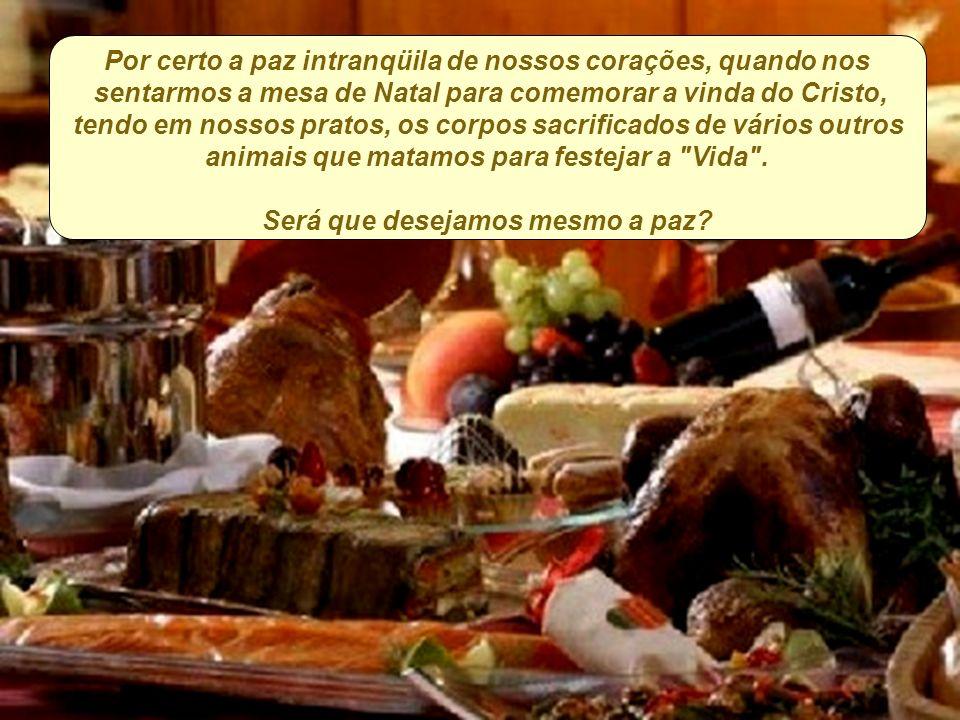 Por certo a paz intranqüila de nossos corações, quando nos sentarmos a mesa de Natal para comemorar a vinda do Cristo, tendo em nossos pratos, os corpos sacrificados de vários outros animais que matamos para festejar a Vida .