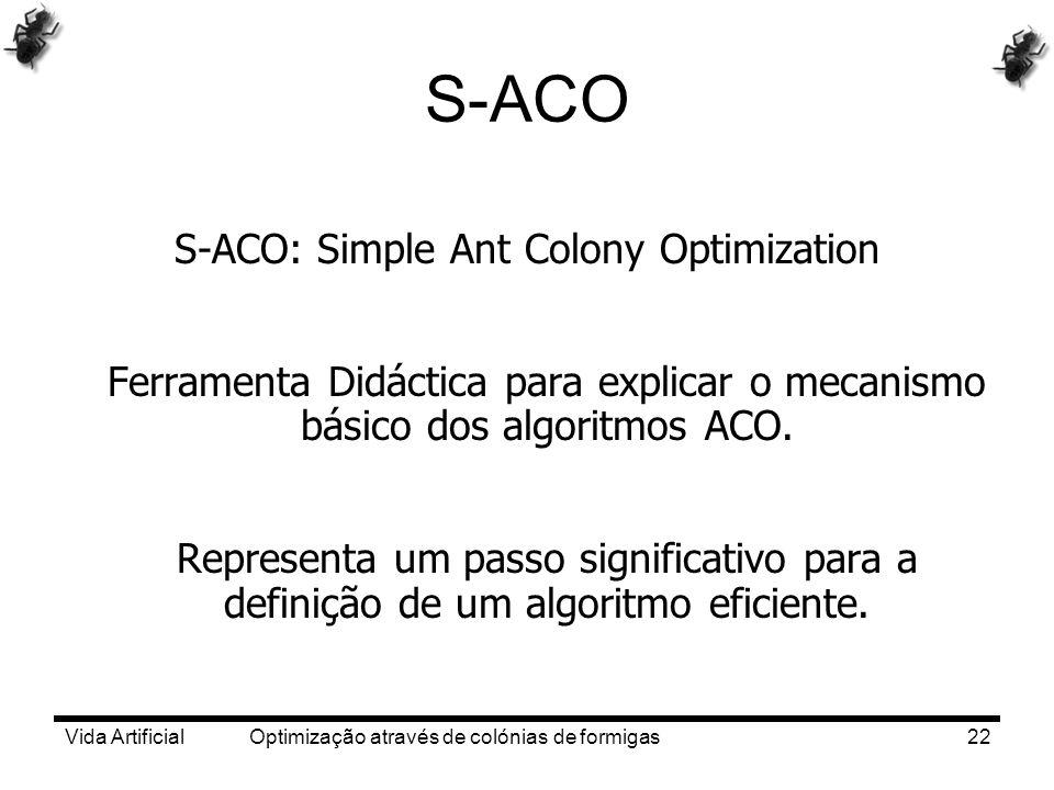Vida Artificial Optimização através de colónias de formigas22 S-ACO S-ACO: Simple Ant Colony Optimization Ferramenta Didáctica para explicar o mecanis