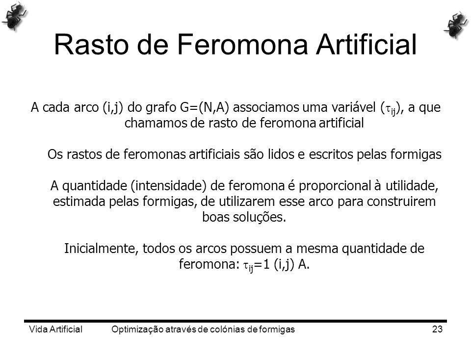 Vida Artificial Optimização através de colónias de formigas23 Rasto de Feromona Artificial A cada arco (i,j) do grafo G=(N,A) associamos uma variável