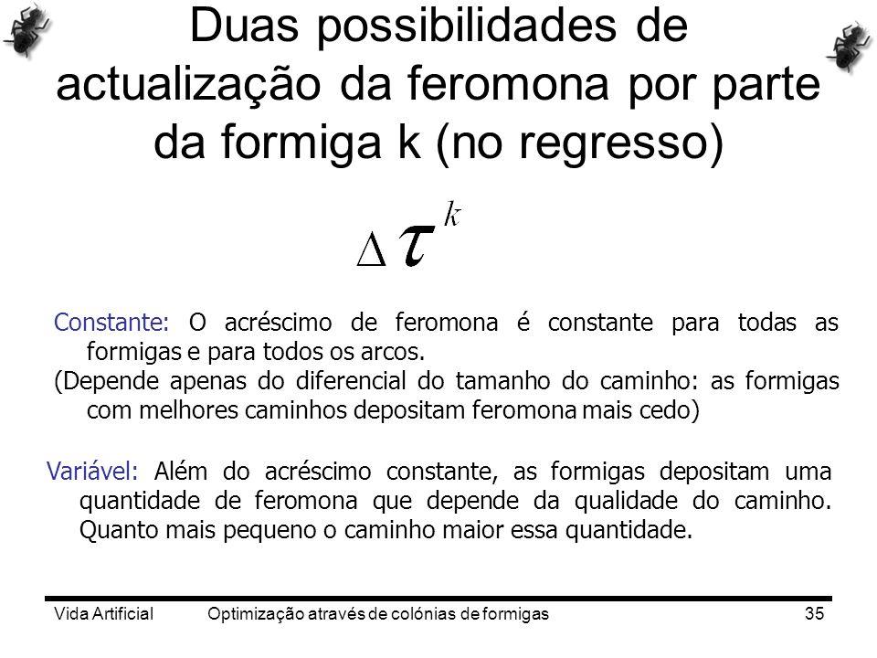Vida Artificial Optimização através de colónias de formigas35 Duas possibilidades de actualização da feromona por parte da formiga k (no regresso) Con