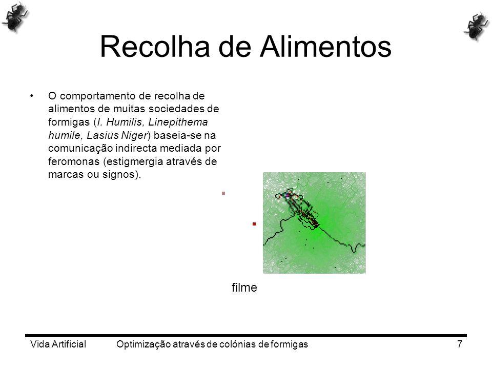 Vida Artificial Optimização através de colónias de formigas7 Recolha de Alimentos O comportamento de recolha de alimentos de muitas sociedades de form