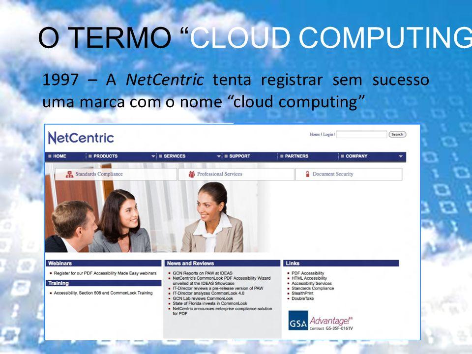 2001 – New York Times publica matéria com o termo cloud of computers O TERMO CLOUD COMPUTING 1997 – A NetCentric tenta registrar sem sucesso uma marca com o nome clound computing