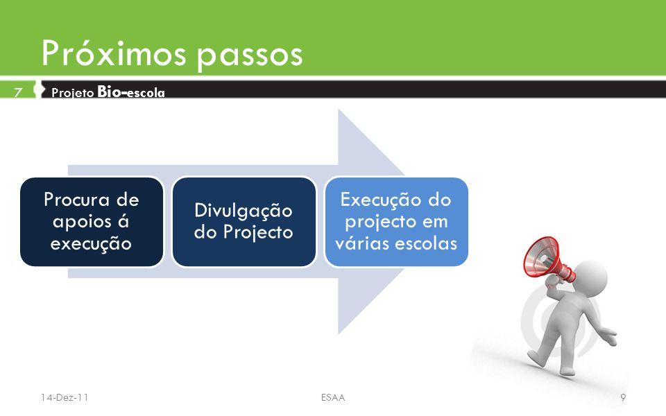 Próximos passos 7 Projeto Bio- escola Procura de apoios á execução Divulgação do Projecto Execução do projecto em várias escolas 14-Dez-11ESAA9