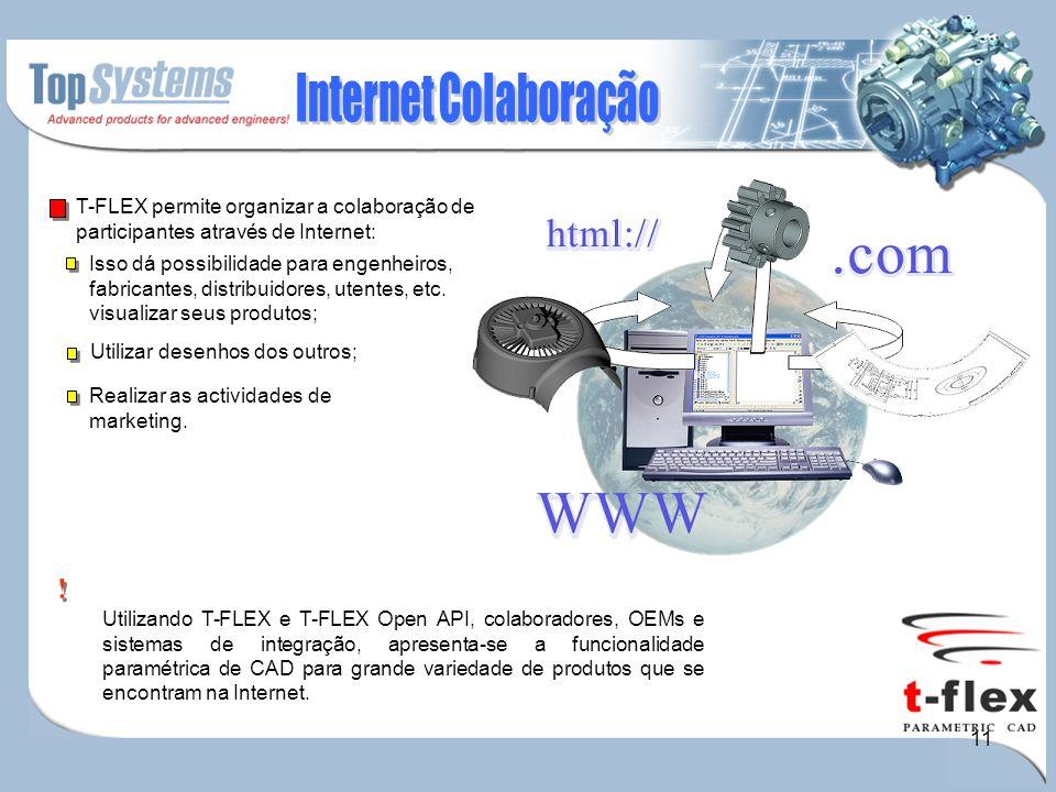11 Utilizando T-FLEX e T-FLEX Open API, colaboradores, OEMs e sistemas de integração, apresenta-se a funcionalidade paramétrica de CAD para grande variedade de produtos que se encontram na Internet.