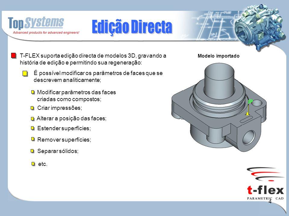 5 T-FLEX permite automaticamente criar e renovar desenhos através de modelos 3D.