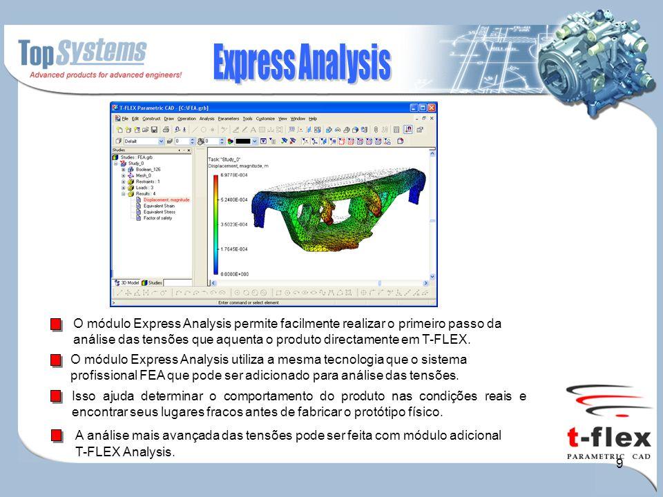 9 A análise mais avançada das tensões pode ser feita com módulo adicional T-FLEX Analysis.