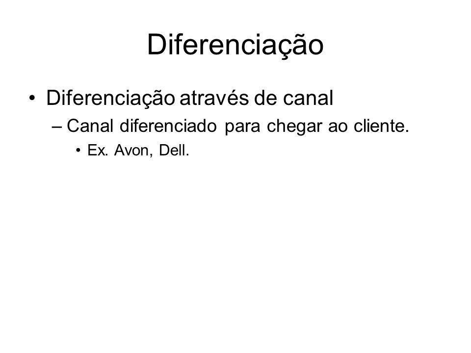 Diferenciação Diferenciação através de canal –Canal diferenciado para chegar ao cliente. Ex. Avon, Dell.