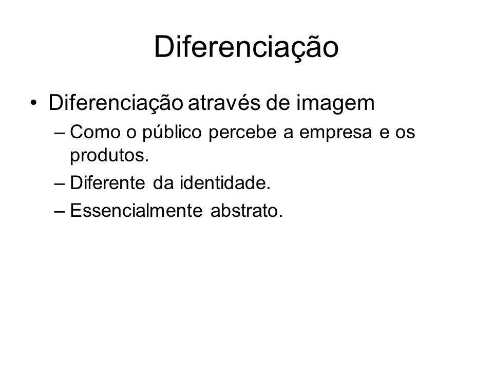 Diferenciação Diferenciação através de imagem –Como o público percebe a empresa e os produtos. –Diferente da identidade. –Essencialmente abstrato.