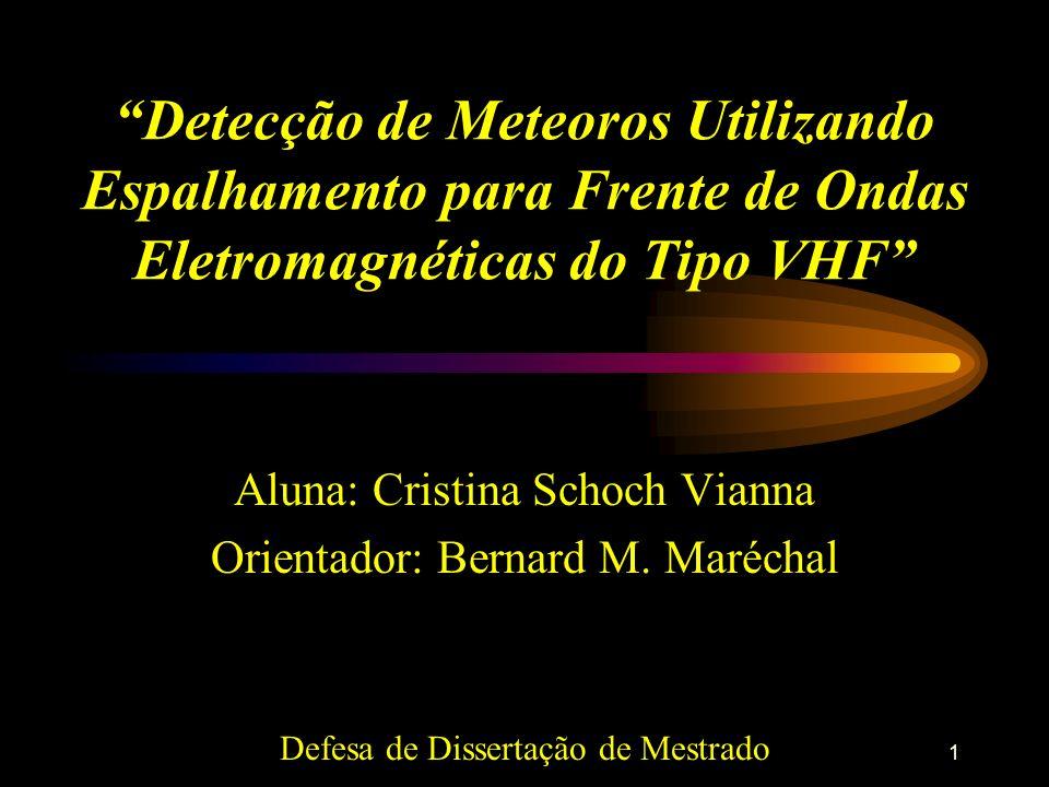 1 Detecção de Meteoros Utilizando Espalhamento para Frente de Ondas Eletromagnéticas do Tipo VHF Aluna: Cristina Schoch Vianna Orientador: Bernard M.