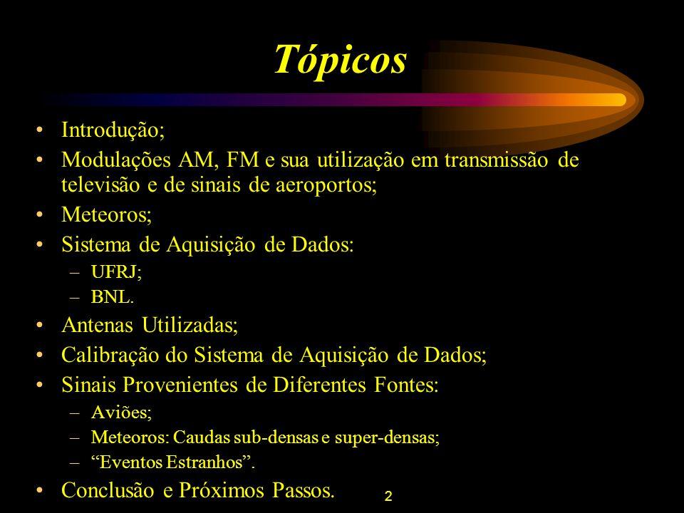 2 Tópicos Introdução; Modulações AM, FM e sua utilização em transmissão de televisão e de sinais de aeroportos; Meteoros; Sistema de Aquisição de Dado