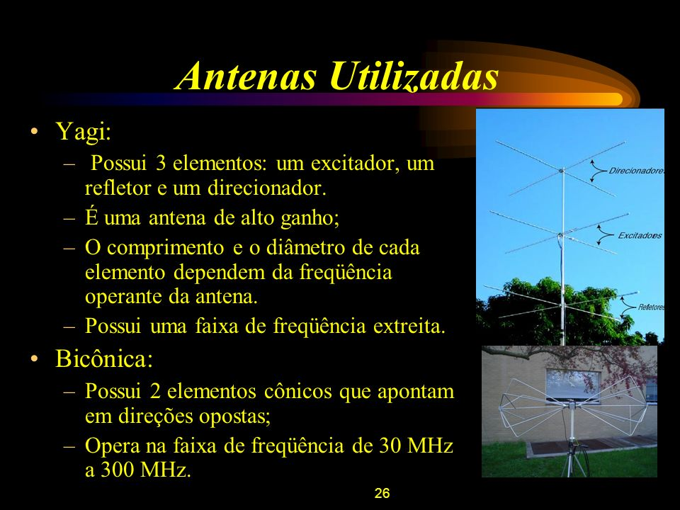 26 Antenas Utilizadas Yagi: – Possui 3 elementos: um excitador, um refletor e um direcionador. –É uma antena de alto ganho; –O comprimento e o diâmetr