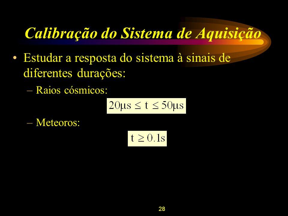28 Calibração do Sistema de Aquisição Estudar a resposta do sistema à sinais de diferentes durações: –Raios cósmicos: –Meteoros: