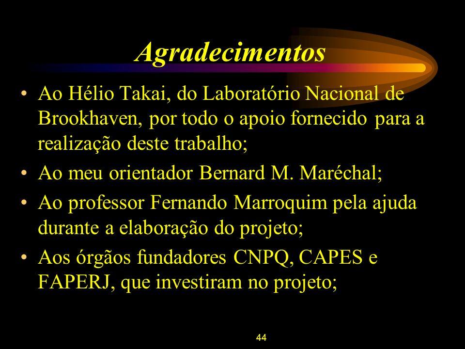 44 Agradecimentos Ao Hélio Takai, do Laboratório Nacional de Brookhaven, por todo o apoio fornecido para a realização deste trabalho; Ao meu orientado