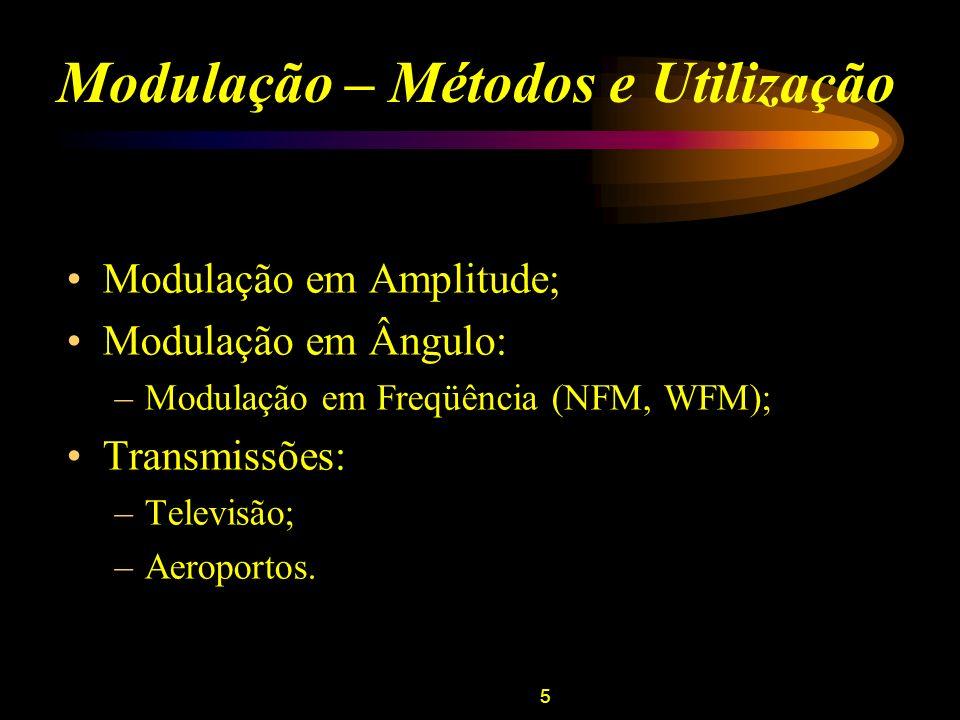 5 Modulação – Métodos e Utilização Modulação em Amplitude; Modulação em Ângulo: –Modulação em Freqüência (NFM, WFM); Transmissões: –Televisão; –Aeropo