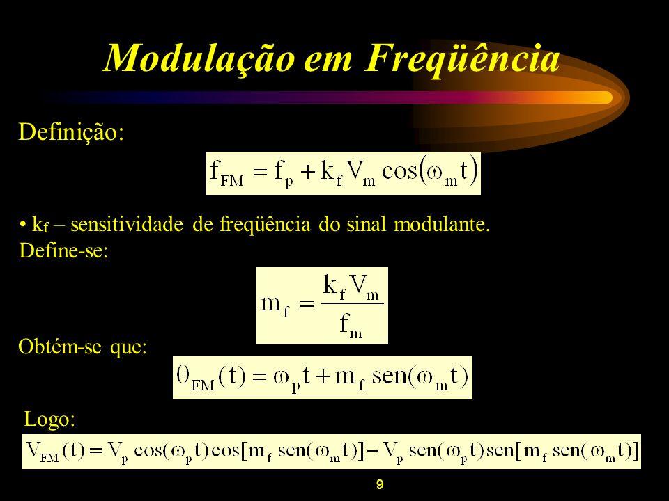 9 Modulação em Freqüência Definição: k f – sensitividade de freqüência do sinal modulante. Define-se: Obtém-se que: Logo: