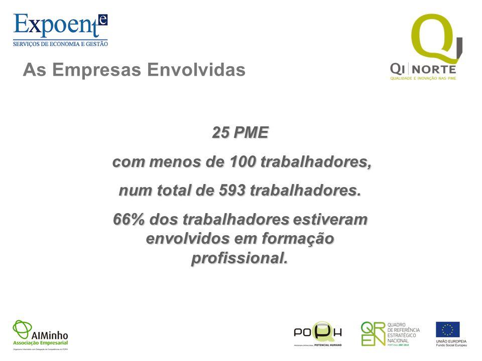 As Empresas Envolvidas 25 PME com menos de 100 trabalhadores, com menos de 100 trabalhadores, num total de 593 trabalhadores. 66% dos trabalhadores es
