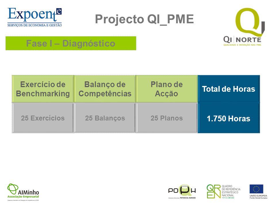 Projecto QI_PME Fase I – Diagnóstico Exercício de Benchmarking Balanço de Competências Plano de Acção Total de Horas 25 Exercícios25 Balanços25 Planos