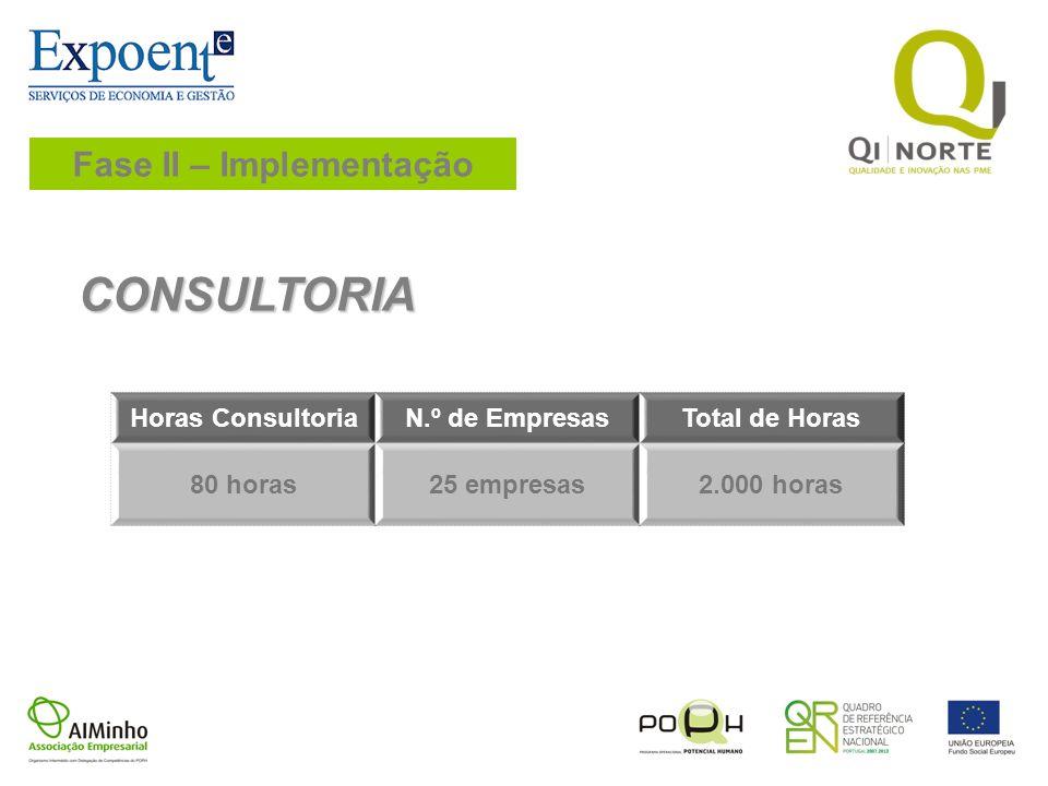 Fase II – Implementação CONSULTORIA Horas ConsultoriaN.º de EmpresasTotal de Horas 80 horas25 empresas2.000 horas