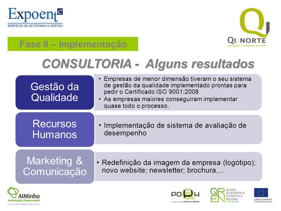 CONSULTORIA - Alguns resultados Empresas de menor dimensão tiveram o seu sistema de gestão da qualidade implementado prontas para pedir o Certificado