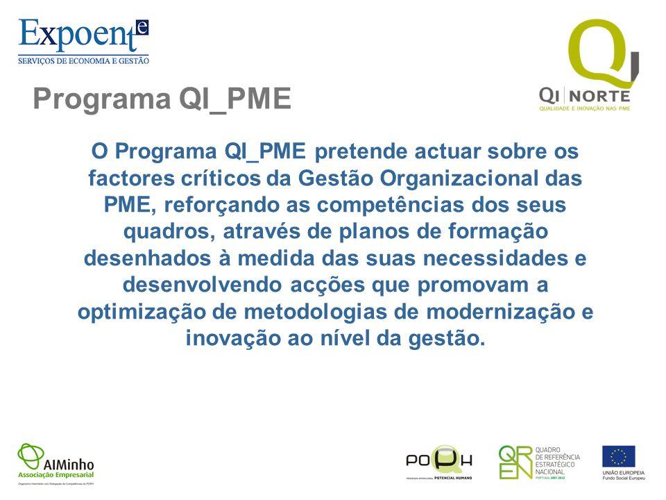 Programa QI_PME O Programa QI_PME pretende actuar sobre os factores críticos da Gestão Organizacional das PME, reforçando as competências dos seus qua