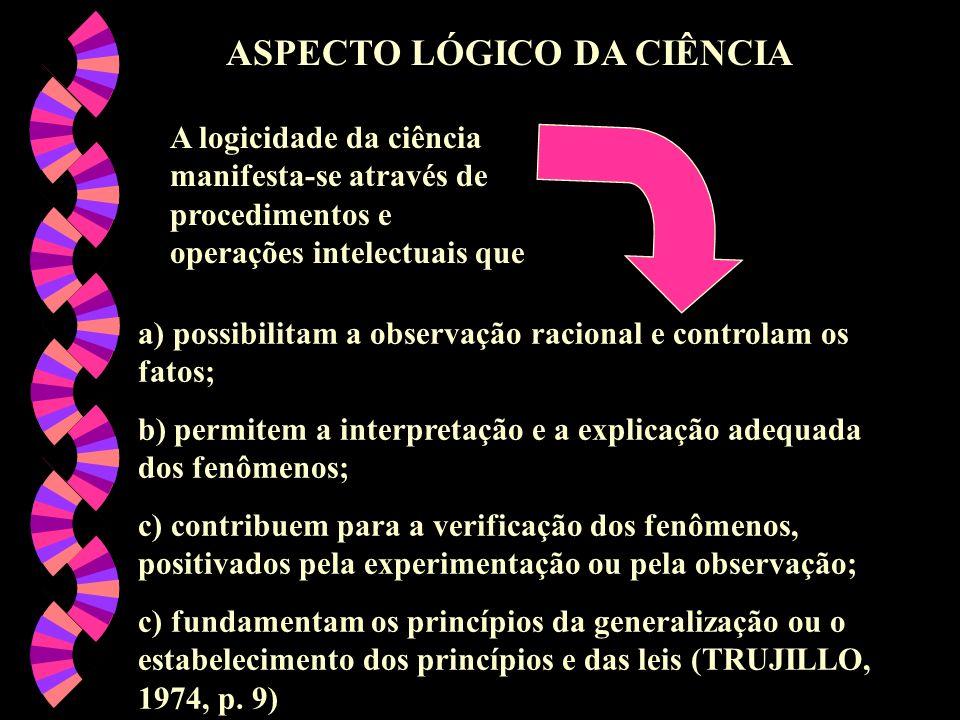 ASPECTO LÓGICO DA CIÊNCIA a) possibilitam a observação racional e controlam os fatos; b) permitem a interpretação e a explicação adequada dos fenômeno