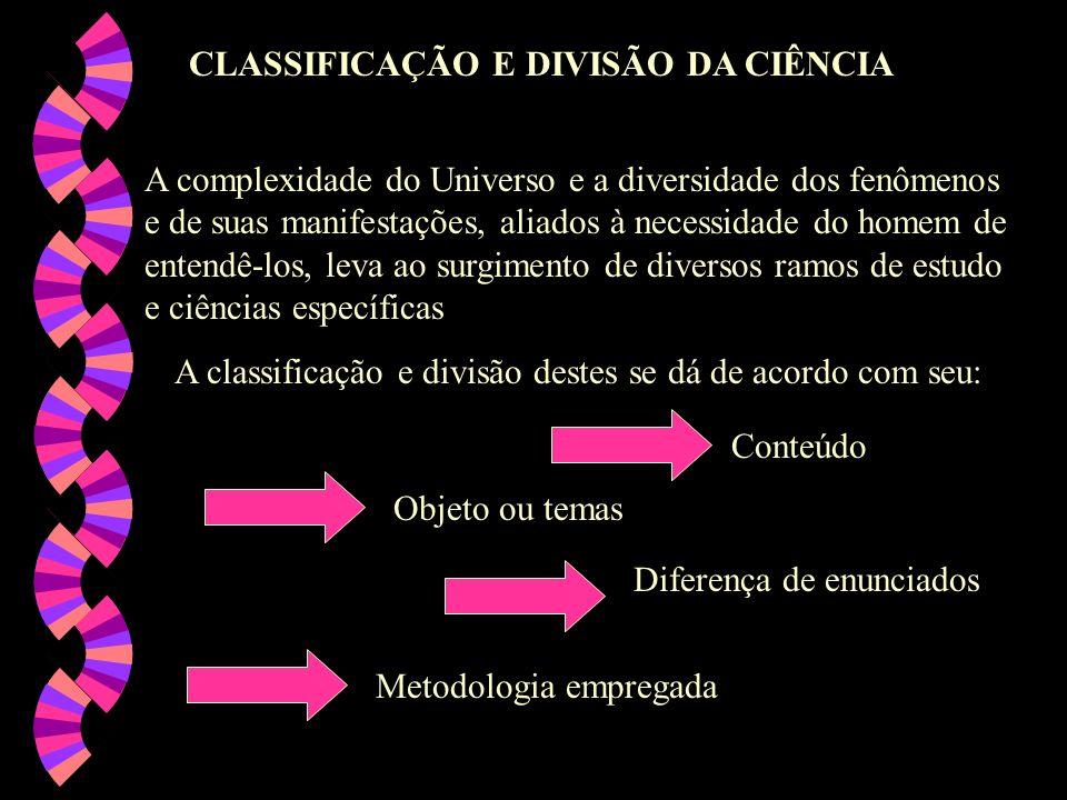 CLASSIFICAÇÃO E DIVISÃO DA CIÊNCIA A complexidade do Universo e a diversidade dos fenômenos e de suas manifestações, aliados à necessidade do homem de