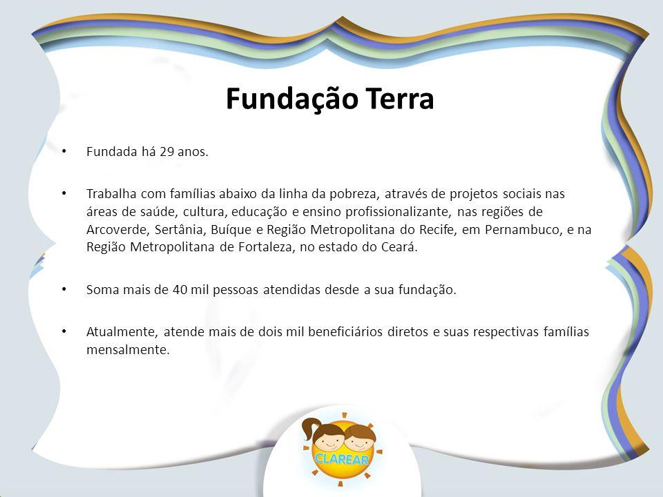 Fundação Terra Fundada há 29 anos. Trabalha com famílias abaixo da linha da pobreza, através de projetos sociais nas áreas de saúde, cultura, educação