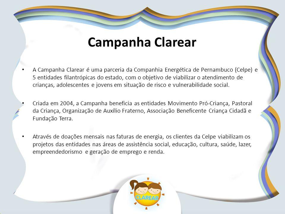 Campanha Clarear A Campanha Clarear é uma parceria da Companhia Energética de Pernambuco (Celpe) e 5 entidades filantrópicas do estado, com o objetivo