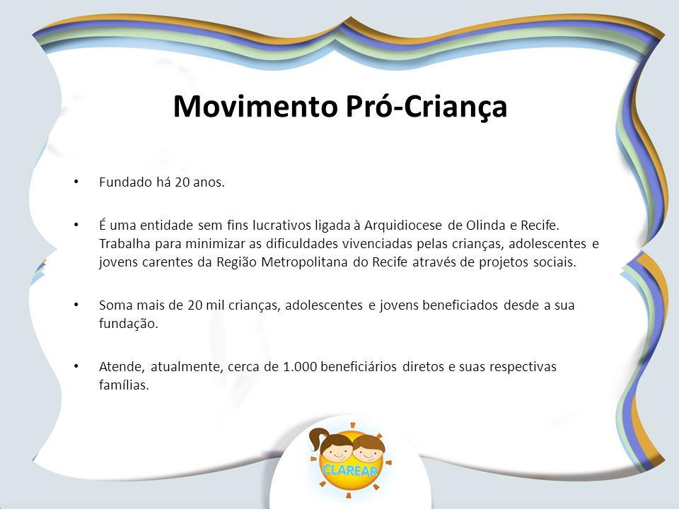 Movimento Pró-Criança Fundado há 20 anos. É uma entidade sem fins lucrativos ligada à Arquidiocese de Olinda e Recife. Trabalha para minimizar as difi