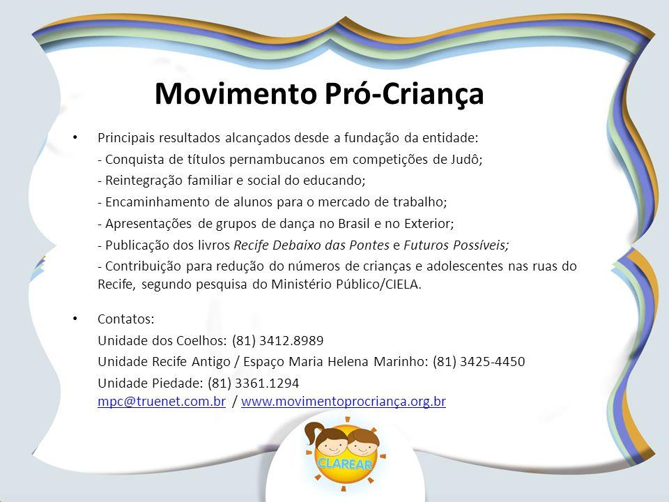 Movimento Pró-Criança Principais resultados alcançados desde a fundação da entidade: - Conquista de títulos pernambucanos em competições de Judô; - Re