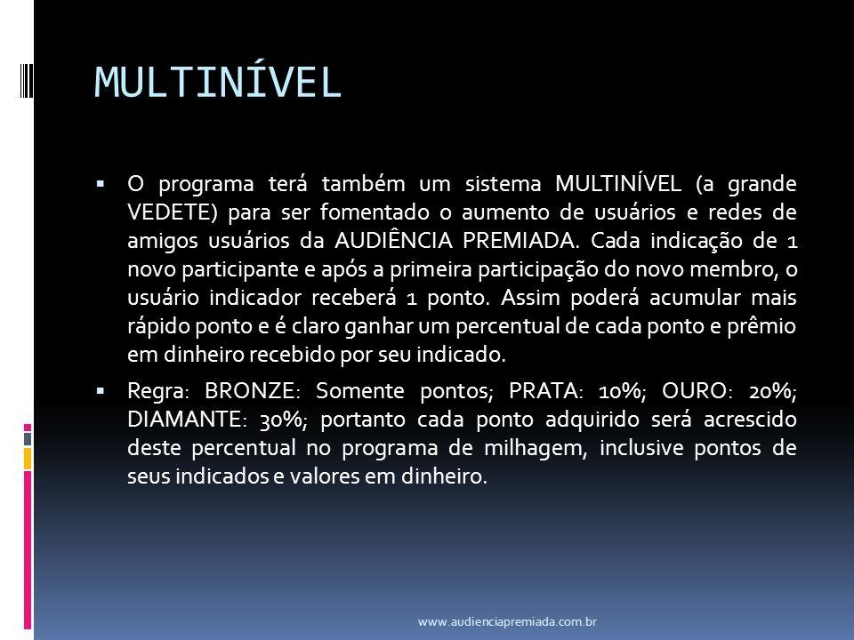 MULTINÍVEL O programa terá também um sistema MULTINÍVEL (a grande VEDETE) para ser fomentado o aumento de usuários e redes de amigos usuários da AUDIÊNCIA PREMIADA.
