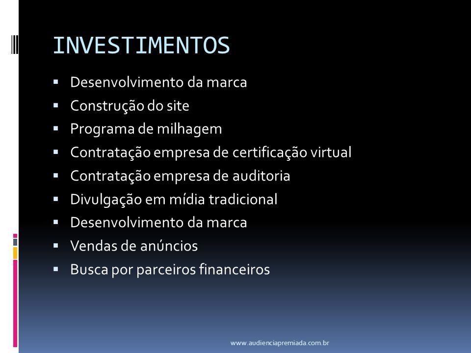 INVESTIMENTOS Desenvolvimento da marca Construção do site Programa de milhagem Contratação empresa de certificação virtual Contratação empresa de audi